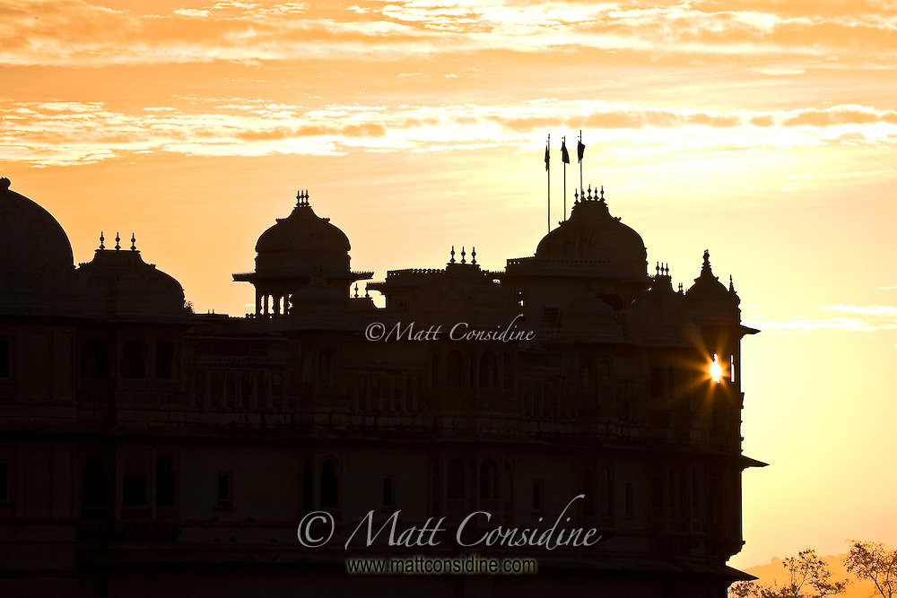 The silhouette of the Maharaja's City Palace at dawn.<br /> (Photo by Matt Considine - Images of Asia Collection)