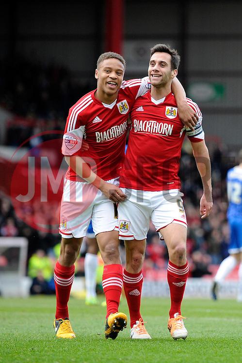 Bristol City's Sam Baldock celebrates his goal with Bristol City's Bobby Reid - Photo mandatory by-line: Dougie Allward/JMP - Tel: Mobile: 07966 386802 01/03/2014 - SPORT - FOOTBALL - Bristol - Ashton Gate - Bristol City v Gillingham - Sky Bet League One