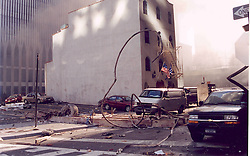 Aug. 24, 2011 - New York, United States - World Trade Center on 9/11 shortly after the second tower had collapsed. On the morning of September 11, 2001, nineteen al-Qaeda terrorists hijacked four commercial passenger jet airliners. The hijackers intentionally crashed two of the airliners into the Twin Towers of the World Trade Center in New York City, the 1st at 8:46 a.m., American Airlines Flight 11 was crashed into the World Trade Center's North Tower, followed by United Airlines Flight 175, which hit the South Tower at 9:03 a.m, killing everyone on board and many others working in the buildings. Both towers collapsed within two hours, destroying nearby buildings and damaging others. Among the 2,752 victims who died in the attacks on the World Trade Center were 343 firefighters and 60 police officers from New York City and the Port Authority. (Credit Image: © Visual/ZUMAPRESS.com)