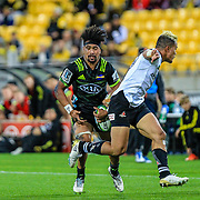 Ardie Savea runs during the Super Rugby union game between Hurricanes and Sunwolves, played at Westpac Stadium, Wellington, New Zealand on 27 April 2018.   Hurricanes won 43-15.