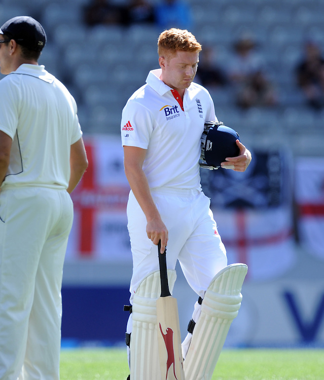 England's Jonny Bairstow walks, out for 3, lbw to New Zealand's Trent Boult on the third day of the 3rd international cricket test, Eden Park, Auckland, New Zealand, Sunday, March 24, 2013. Credit:SNPA / Ross Setford