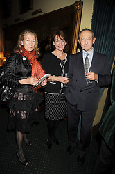 Left to right, DANAE BROOK, DAN TOPOLSKI and his wife SUZY at a reception to support The Hyde Park Appeal held in the officers Mess, Household Cavalry Mounted Regiment, Hyde Park Barracks, London SW1 on 10th November 2008.