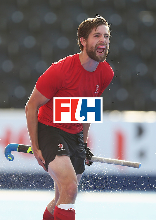 LONDON, ENGLAND - JUNE 16:  Iain Smythe of Canada celebrates as he scores their second goal during the Hero Hockey World League Semi-Final Pool B match between Pakistan and Canada at Lee Valley Hockey and Tennis Centre on June 16, 2017 in London, England.  (Photo by Alex Morton/Getty Images)