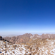 Toubkal national park, the peak whit 4,167m is the highest in the Atlas mountains and North Africa, trekking trail panoramic view. Morocco