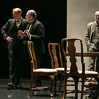 Waste by Harley Granvelle Barker;<br /> Directed by Roger Michell;<br /> Andrew Havill as Sir Gilbert Wedgecroft;<br /> Michael Elwyn as Cyril Horsham;<br /> Paul Hickey as Justin O'Connell;<br /> Lyttelton Theatre, National Theatre, London, UK;<br /> 9 November 2015