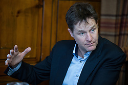 © Licensed to London News Pictures . 13/01/2015 . Stockport , UK . Deputy Prime Minister NICK CLEGG meets with members of High Lane Residents' Association at the Red Lion Inn , High Lane , Hazel Grove . Photo credit : Joel Goodman/LNP