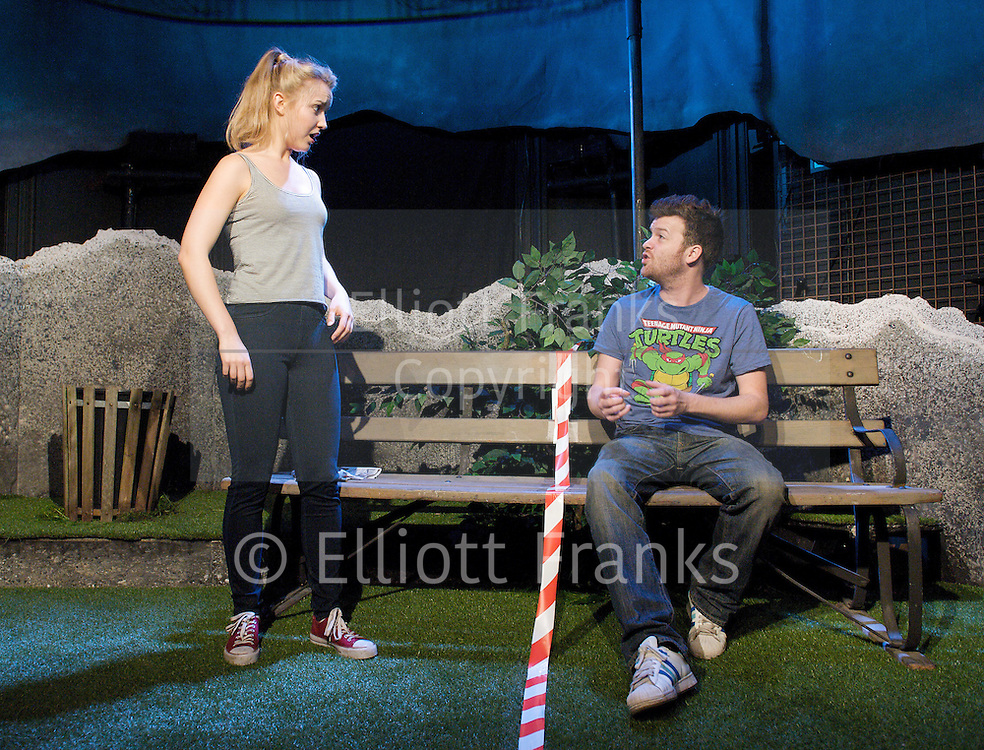 Incident at the Border<br /> by Kieran Lynn<br /> at The Finborough Theatre, London, Great Britain <br /> directed by Bruce Guthrie<br /> press photocall<br /> 23rd July 2012 <br /> <br /> Tom Bennett as Arthur<br /> <br /> Florence Hall as Olivia<br /> <br /> Marc Pickering as Reiver<br /> <br /> Photograph by Elliott Franks