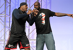 "August 27, 2010; Boston, MA; USA; Glen ""Big Baby"" Davis (l) listens to Shaquille O'Neal at the UFC 118 Fan Fest in Boston, MA."