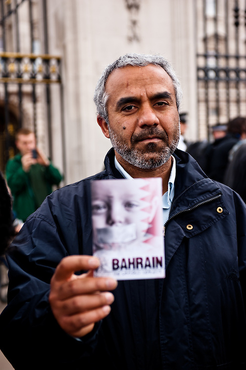 LONDON, UK - 18th May 2012: Protesters in front of Buckingham Palace denouncing the presence of the King of Bahrain and other country leaders in visit at Buckingham Palace for the Queen's Jubilee.
