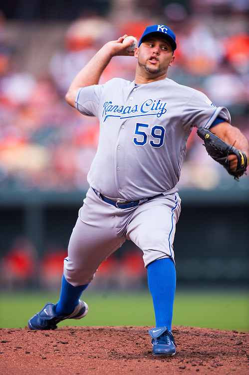 BALTIMORE, MD - MAY 26: Felipe Paulino #59 of the Kansas City Royals pitches during the game against the Baltimore Orioles at Oriole Park at Camden Yards on May 26, 2012 in Baltimore, Maryland. (Photo by Rob Tringali) *** Local Caption *** Felipe Paulino