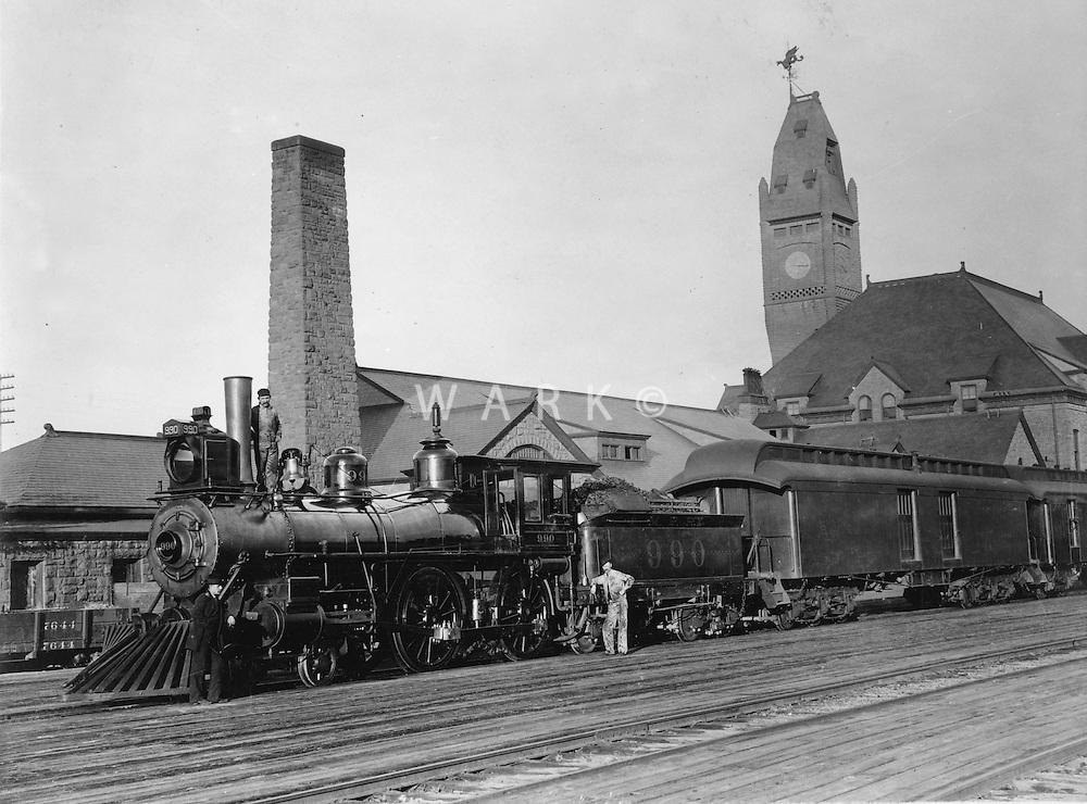 Historic circa 1890 Pueblo Union Depot with train