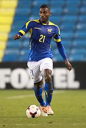 Gabriel Achillier of Ecuador drives forward - Photo mandatory by-line: Robin White/JMP - Tel: Mobile: 07966 386802 01/01/2014 - SPORT - FOOTBALL - The Den - Australia v Ecuador - World Cup Warm Up
