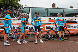 Riders of National Team Belgium before the sign-on at the Holland Ladies Tour, Zeddam, Gelderland, The Netherlands, 1 September 2015.<br /> Photo: Pim Nijland / PelotonPhotos.com
