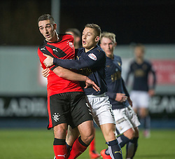Rangers Lee Wallace and Falkirk's John Baird. <br /> Falkirk 3 v 2 Rangers, Scottish Championship game player at The Falkirk Stadium, 18/3/2016.