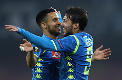 February 21, 2019 - Rome, Italy - SSC Napoli v FC Zurich - UEFA Europa League Round of 32.Adam Ounas of Napoli celebrates with Simone Verdi of Napoli at San Paolo Stadium in Naples, Italy on February 21, 2019. (Credit Image: © Matteo Ciambelli/NurPhoto via ZUMA Press)