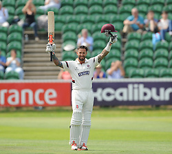 Peter Trego celebrates his century - Mandatory byline: Alex Davidson/JMP - 07966386802 - 22/08/2015 - Cricket - County Ground -Taunton,England - Somerset CCC v Worcestershire CCC - LV= County Championship Division One - Day 2