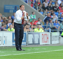 Cardiff City Manager, Malky Mackay gives players directions.- Photo mandatory by-line: Alex James/JMP - Tel: Mobile: 07966 386802 25/08/2013 - SPORT - FOOTBALL - Cardiff City Stadium - Cardiff -  Cardiff City V Manchester City - Barclays Premier League
