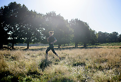 © Licensed to London News Pictures. 09/10/2016. London, UK. A jogger making her way through a field at sunrise in Richmond Park on a bright autumnal morning. Photo credit: Ben Cawthra/LNP