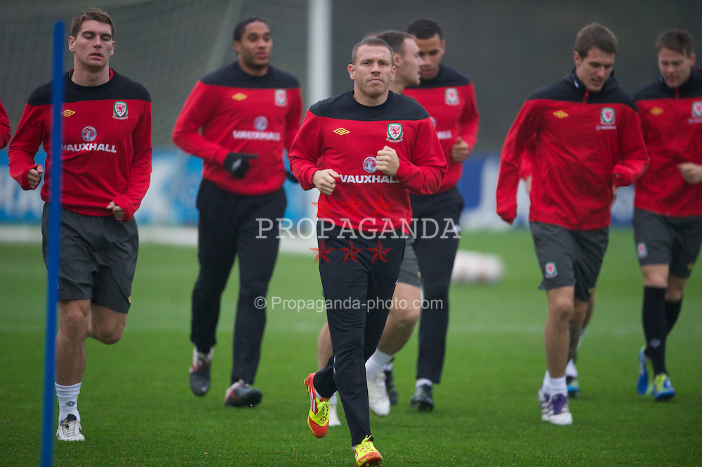 CARDIFF, WALES - Tuesday, November 8, 2011: Wales' Craig Bellamy during a training session at the Vale of Glamorgan Hotel ahead of the friendly match against Norway. (Pic by David Rawcliffe/Propaganda)