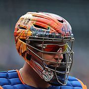 New York Mets catcher John Buck during the New York Mets V Miami Marlins, Major League Baseball game which went for 20 innings and lasted 6 hours and 25 minutes. The Marlins won the match 2-1. Citi Field, Queens, New York. 8th June 2013. Photo Tim Clayton