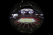 The field is ready for play in this wide angle, general view photograph of Mercedes-Benz Stadium taken from an overhead position before the NFL Super Bowl 53 football game featuring the New England Patriots against the Los Angeles Rams on Sunday, Feb. 3, 2019, in Atlanta. The Patriots defeated the Rams 13-3. (©Paul Anthony Spinelli)