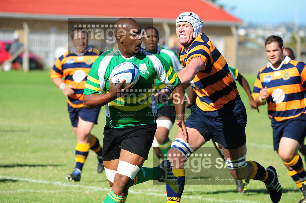 PORT ELIZABETH, SOUTH AFRICA - SATURDAY MARCH 2 2013, Sebastian Lester Hilpert of African Bombers during match 20 of the Cell C Community Cup rugby match between African Bombers and Pretoria Police held at the Zwide stadium..Photo by Iky Plakonouris/ImageSA