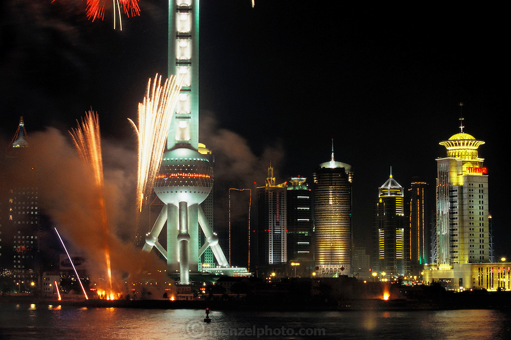Fireworks celebrating the handover of Hong Kong to China by the British in 1997. Shanghai, China..