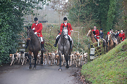 © Licensed to London News Pictures. 26/12/2018. Chiddingstone, UK. Old Surrey Burstow and West Kent Boxing day Hunt meet at Chiddingstone Castle,Chiddingstone. Photo credit: Grant Falvey/LNP