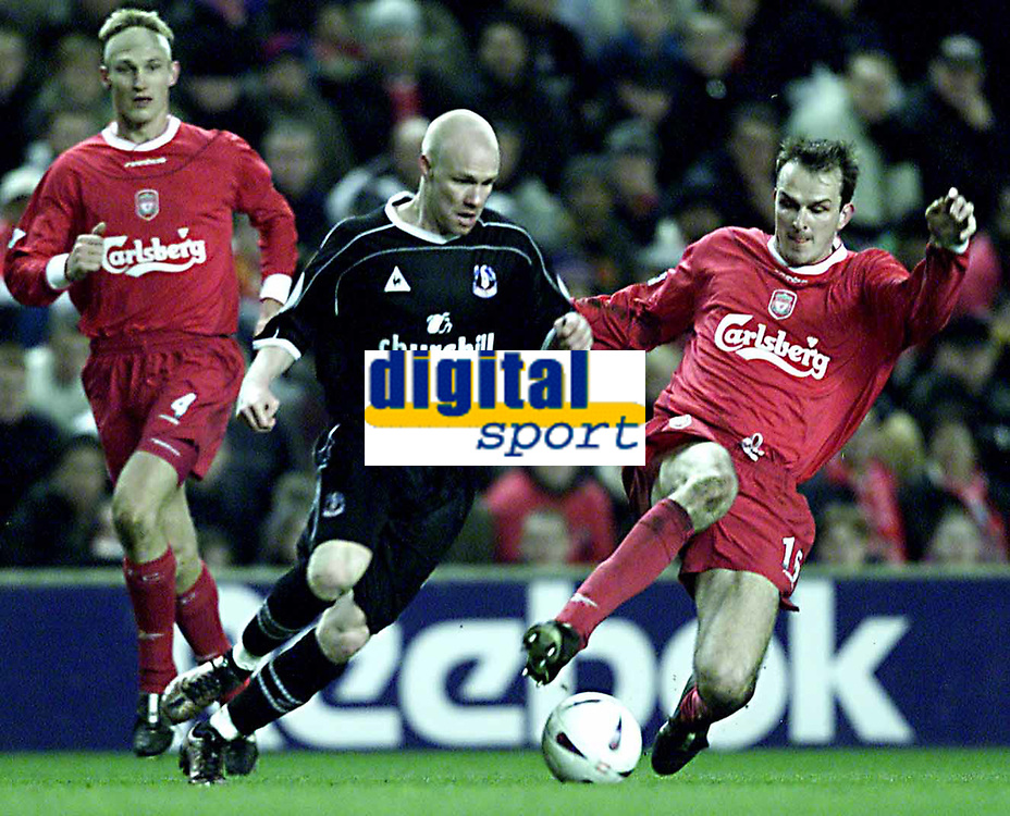 Liverpool v Crystal Palace (FA Cup 4th rd replay) 5/02/03<br />Liverepool's Dietmar Hamann and Palace's Shaun Derry<br />photo: Aidan Ellis.
