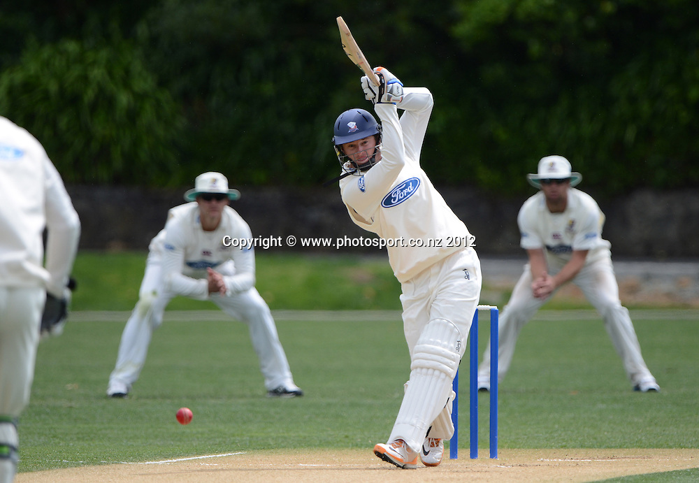 Bruce Martin batting for Auckland. Plunket Shield Cricket, Auckland Aces v Northern Knights at Eden Park Outer Oval. Monday 12 November 2012. Photo: Andrew Cornaga/Photosport.co.nz