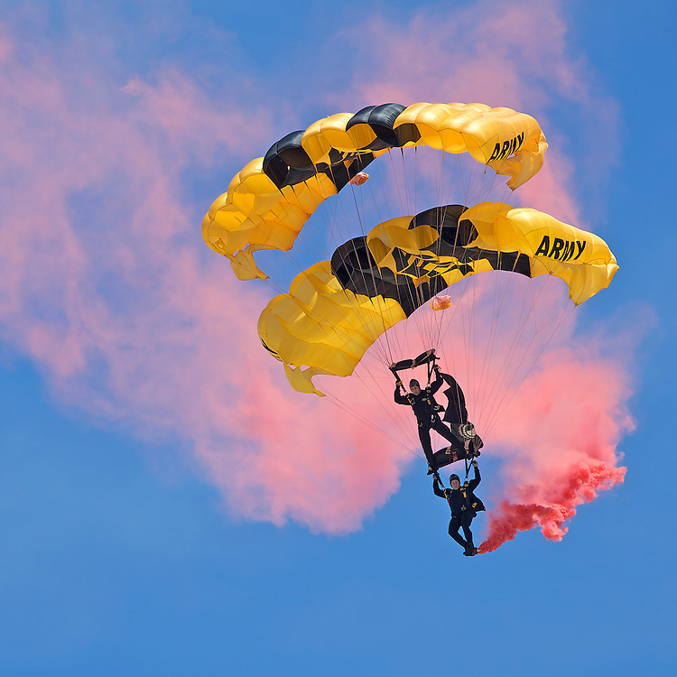 The U.S. Army Golden Knights parachuting team perform skydiving maneuvers at the 2010 airshow at Andrews Air Base in Maryland just outside Washington, DC.