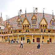 Courtyard of the Hotel Dieu de Beaune, also known as the Hospices de Beaune.