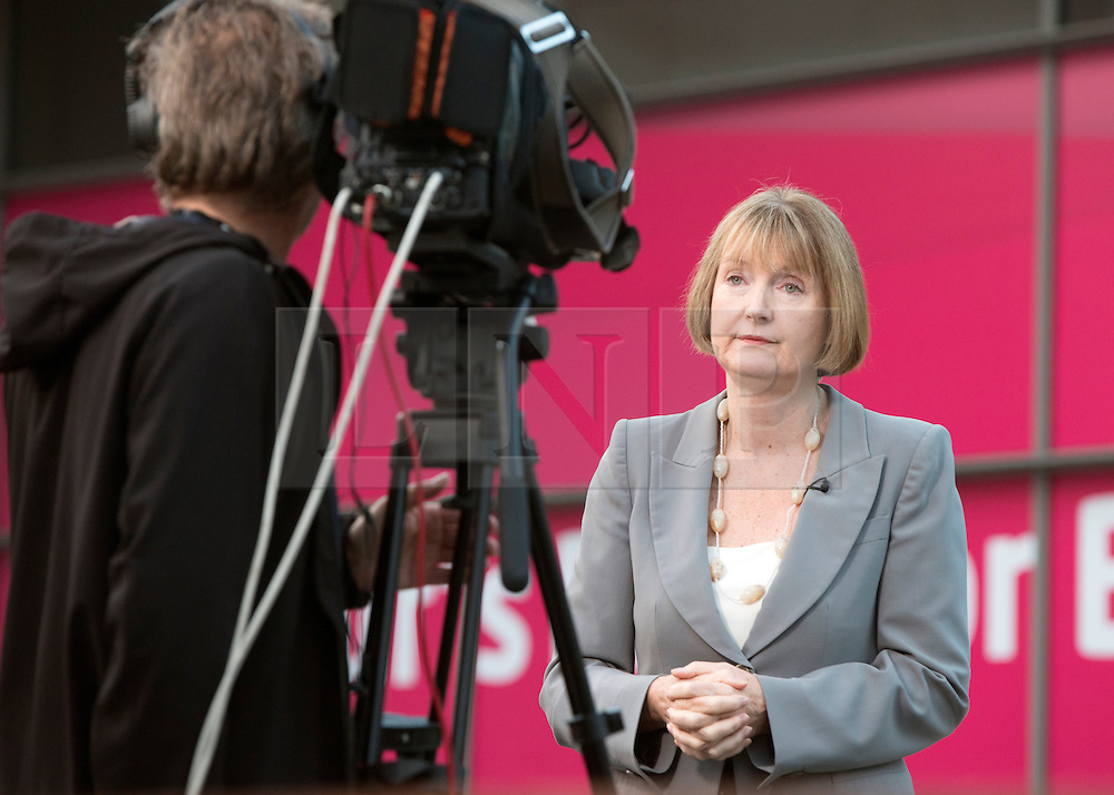 © Licensed to London News Pictures. 23/09/2014. Manchester, UK. Harriet Harmen give early morning television interviews. Labour Party Conference 2014 at the Manchester Convention Centre today 23 September 2014. Photo credit : Stephen Simpson/LNP