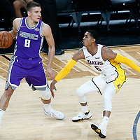 08 October 2017: Los Angeles Lakers guard Jordan Clarkson (6) defends on Sacramento Kings guard Bogdan Bogdanovic (8) during the LA Lakers 75-69 victory over the Sacramento Kings, at the T-Mobile Arena, Las Vegas, Nevada, USA.