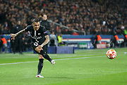 Dani Alves of Paris Saint-Germain crosses the ball during the Champions League Round of 16 2nd leg match between Paris Saint-Germain and Manchester United at Parc des Princes, Paris, France on 6 March 2019.