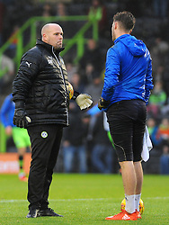 Forest Green Rovers goal keeping coach Steve Hale talks to Bradley Collins of Forest Green Rovers -Mandatory by-line: Nizaam Jones/JMP - 18/11/2017 - FOOTBALL - New Lawn Stadium - Nailsworth, England - Forest Green Rovers v Crewe Alexandre-Sky Bet League Two