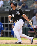 CHICAGO - AUGUST 02:  Jose Abreu #79 of the Chicago White Sox hits a home run against the Kansas City Royals on August 2, 2018 at Guaranteed Rate Field in Chicago, Illinois.  (Photo by Ron Vesely)  Subject: Jose Abreu