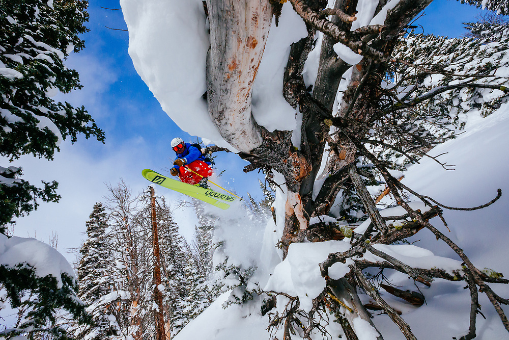 Tigger Knecht grabs some air in new powder in the Tetons of Jackson Hole Mountain Resort.