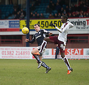 Dundee&rsquo;s Paul McGowan and Hearts&rsquo; Arnaud Djoum - Dundee v Hearts - Ladbrokes Premiership at Dens Park <br />  - &copy; David Young - www.davidyoungphoto.co.uk - email: davidyoungphoto@gmail.com