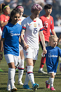 USA forward Megan Rapinoe (15) walks onto the field before an international friendly against South Korea in Chicago, Sunday, Oct. 6, 2019, in Chicago. USWNT tied the Korea Republic 1-1. (Max Siker/Image of Sport)