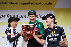 Top three: Elena Cecchini (ITA), Coryn Rivera (USA) and Lisa Brennauer (GER) at Lotto Thuringen Ladies Tour 2018 - Stage 2, an 136 km road race starting and finishing in Meiningen, Germany on May 29, 2018. Photo by Sean Robinson/Velofocus.com