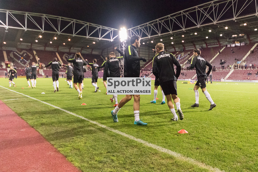 Dundee United Players warm up pre match at Tynecastle......(c) MARK INGRAM | SportPix.org.uk