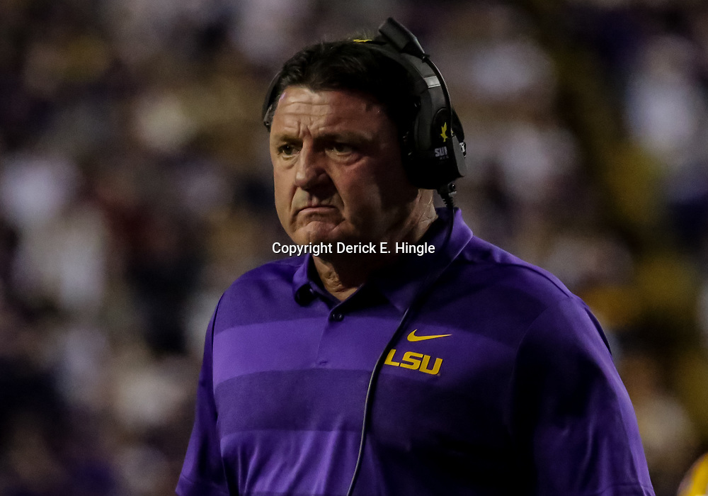 Nov 3, 2018; Baton Rouge, LA, USA; LSU Tigers head coach Ed Orgeron against the Alabama Crimson Tide during the first quarter at Tiger Stadium. Mandatory Credit: Derick E. Hingle-USA TODAY Sports