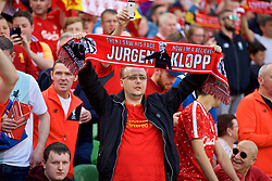 DUBLIN, REPUBLIC OF IRELAND - Saturday, August 5, 2017: A Liverpool supporter holds up a scarf featuring manager Jürgen Klopp  above his head before a preseason friendly match between Athletic Club Bilbao and Liverpool at the Aviva Stadium. (Pic by David Rawcliffe/Propaganda)
