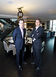 **Home supplement** © Ben Cawthra. 22/01/2013. Property developers from Fichatton, Andrew Dunn and Alex Michelin in the dining area of the penthouse apartment at The Lansbury, on Basil Street, London. The Lansbury was recently refurbished in to 6 luxury apartments opposite Harrods in central London. Photo credit: Ben Cawthra.
