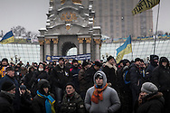 Anti-government protesters gather in Maidan Square on December 9, 2013 in Kiev, Ukraine. Thousands of people have been protesting against the government since a decision by Ukrainian president Viktor Yanukovych to suspend a trade and partnership agreement with the European Union in favor of incentives from Russia was made recently.