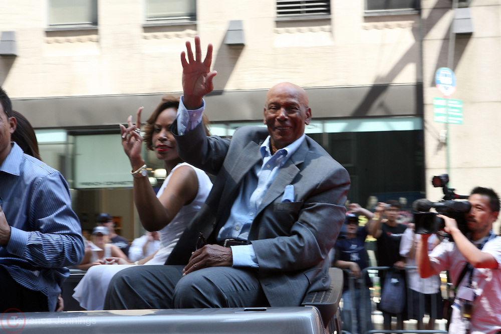 Ernie Banks at the Major League Baseball All-Stars and 49 Hall of Famers ride up Sixth Avenue in All Star-Game Red Carpet Parade Presented by Chevy on July 15, 2008