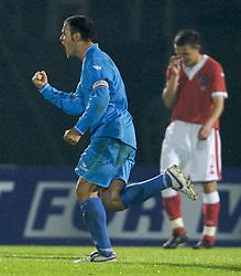 San Marino, San Marino - Wednesday, October 17, 2007: San Marino's captain Andy Selva celebrates scoring against Wales during the Group D UEFA Euro 2008 Qualifying match at the Serravalle Stadium. (Photo by David Rawcliffe/Propaganda)