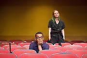 The Flick <br /> by Annie Baker <br /> at the Dorfman Theatre, National Theatre, Southbank, London, Great Britain <br /> 18th April 2016 <br /> <br /> Louise Krause as Rose<br /> <br /> <br /> Jaygann Ayeh as Avery <br /> <br /> <br /> <br /> Photograph by Elliott Franks <br /> Image licensed to Elliott Franks Photography Services