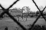 A cross which was (is) standing outside Block 11 at the Auschwitz Nazi concentration camp after the ceremony to remember the 50th anniversary of the liberation in 1995. It is estimated that between 1.1 and 1.5 million Jews, Poles, Roma and others were killed here in the Holocaust between 1940-1945.